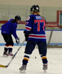 Holy Cross sophomore Emily Bauer's dream of playing high school hockey is coming true.